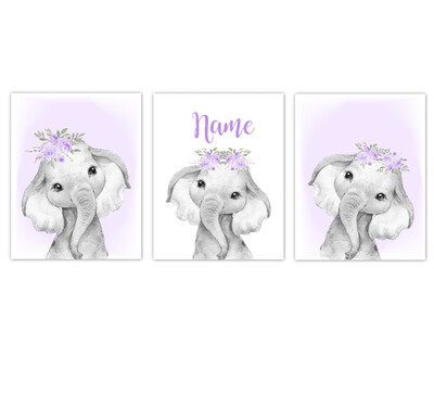 Elephant Baby Girl Nursery Wall Art Decor Purple Floral Crown Elephant Personalized Prints SET OF 3 UNFRAMED PRINTS or CANVAS
