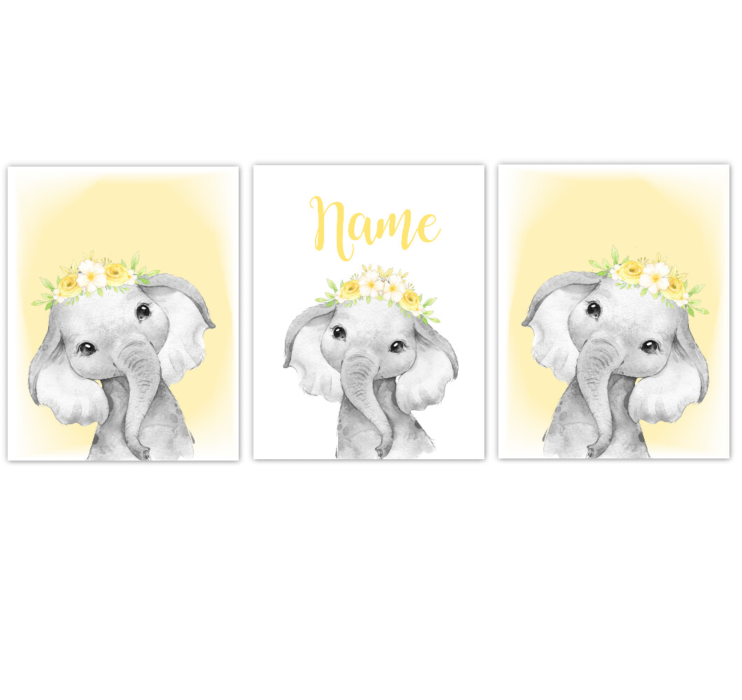 Elephant Baby Girl Nursery Wall Art Decor Yellow Floral Crown Elephant Prints SET OF 3 UNFRAMED PRINTS or CANVAS