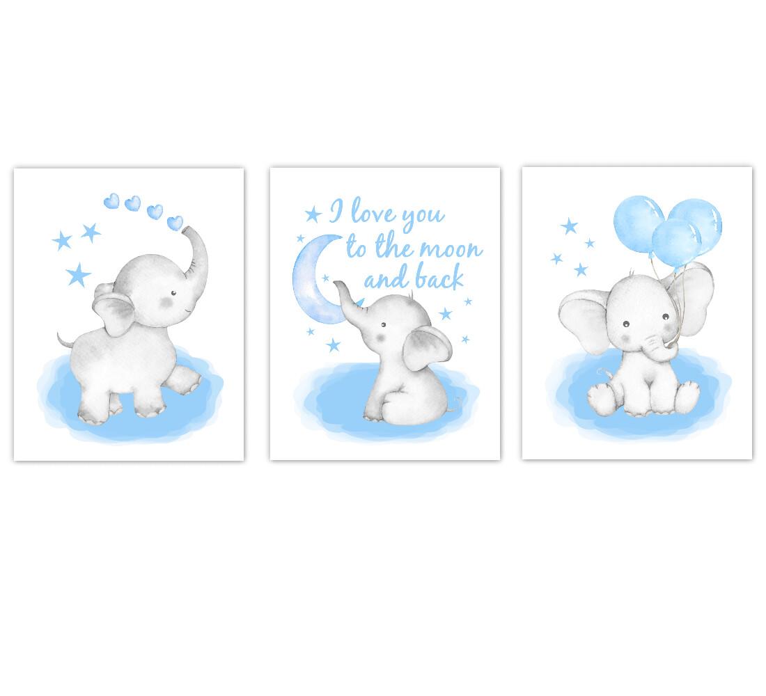 Elephants Baby Boy Nursery Wall Art Decor Blue Art Prints 3 UNFRAMED PRINTS or CANVAS