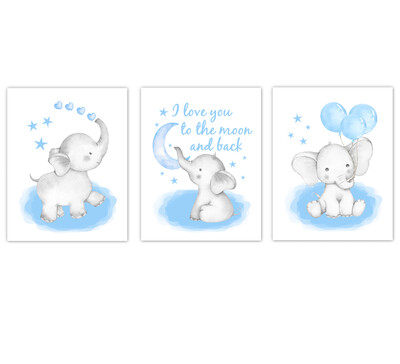 Elephants Baby Boy Nursery Wall Art Decor Blue Art Prints 3 UNFRAMED PRINTS or CANVAS