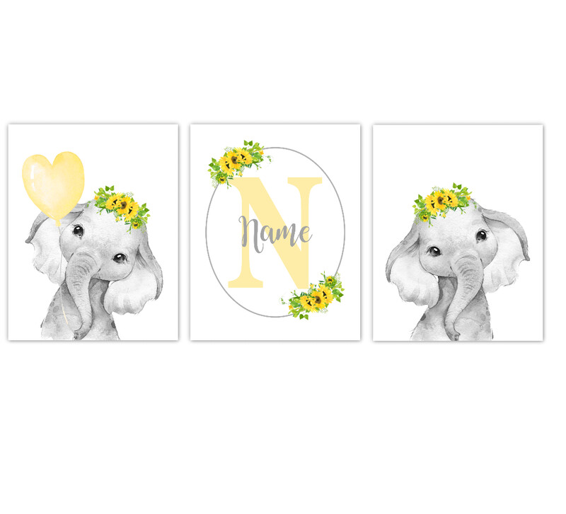 Elephant Baby Girl Nursery Wall Art Decor Yellow Sunflower Floral Crown Elephant Personalized Prints SET OF 3 UNFRAMED PRINTS or CANVAS