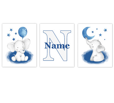 Elephants Baby Boy Nursery Wall Art Decor Personalized Blue Art Prints 3 UNFRAMED PRINTS or CANVAS