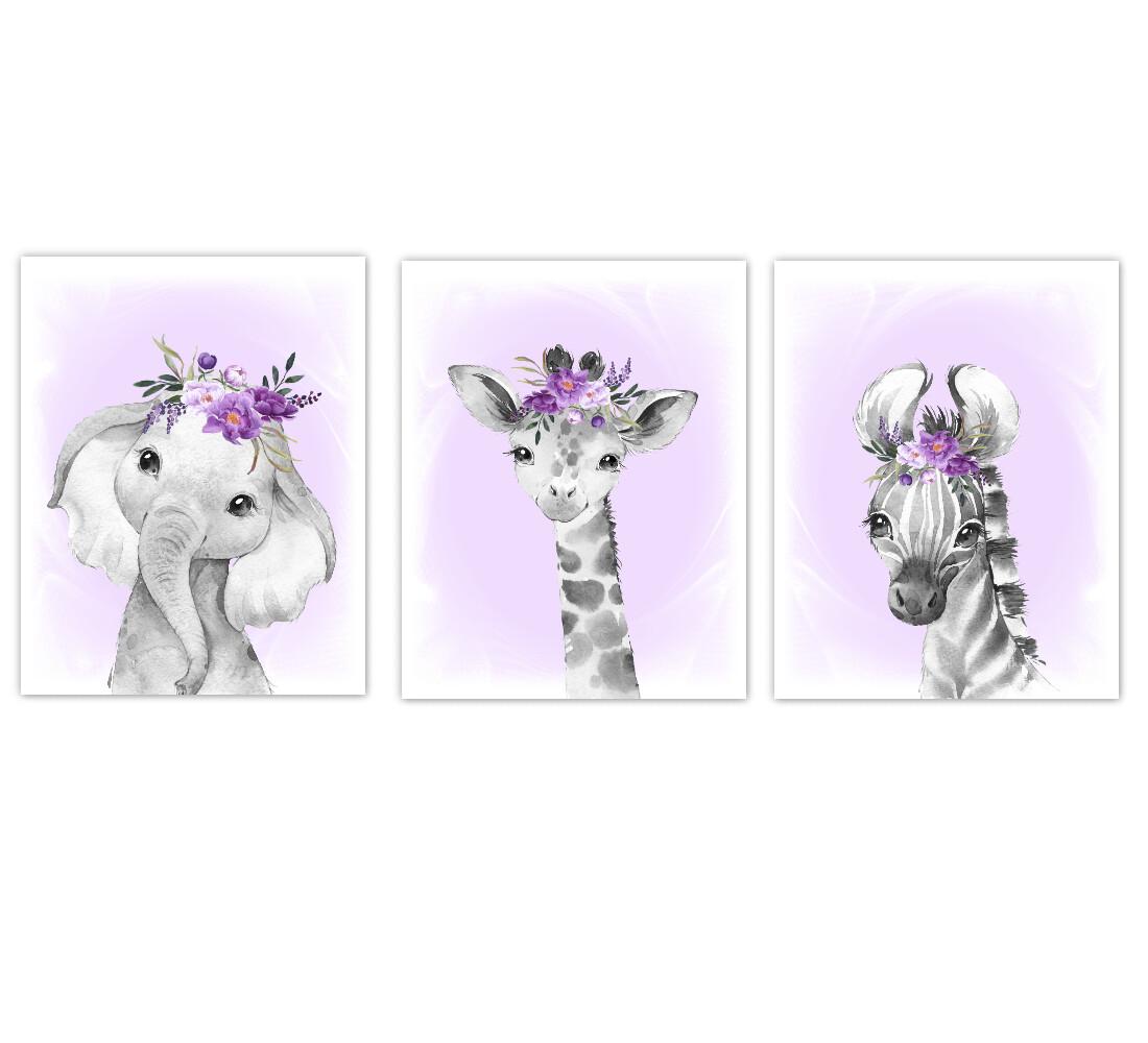 Safari Animal Baby Girl Nursery Wall Art Decor Purple Floral Crown Elephant Giraffe Zebra Prints SET OF 3 UNFRAMED PRINTS or CANVAS