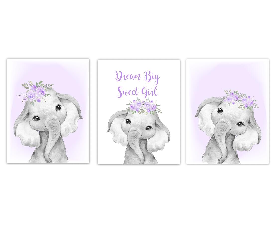 Elephant Baby Girl Nursery Wall Art Decor Purple Floral Crown Elephant Prints SET OF 3 UNFRAMED PRINTS or CANVAS