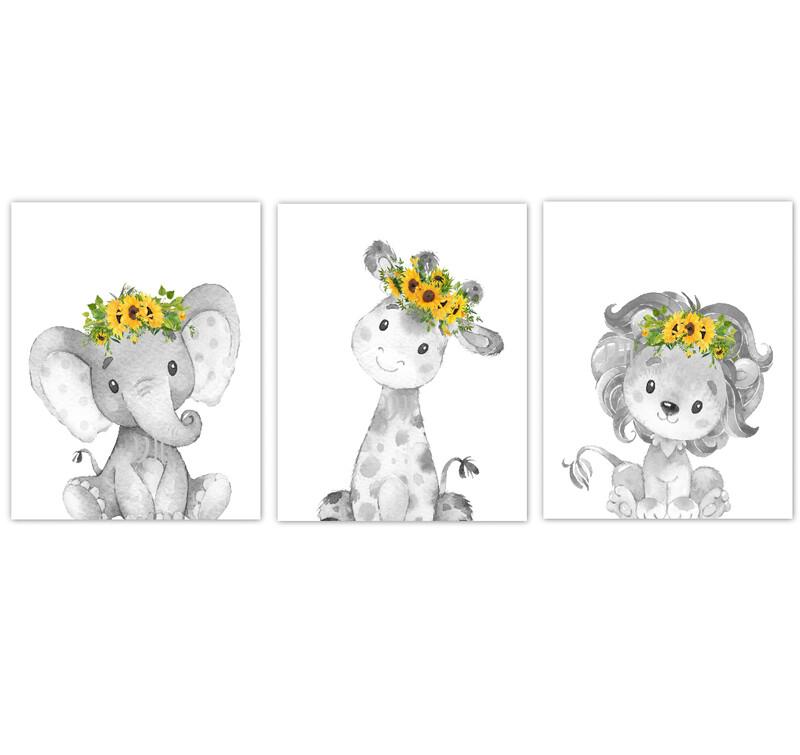Safari Animal Baby Girl Nursery Wall Art Decor Sunflower Floral Crown Elephant Giraffe Lion Prints SET OF 3 UNFRAMED PRINTS or CANVAS