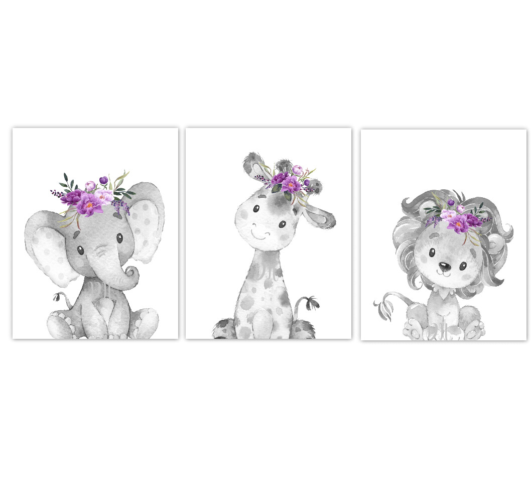 Safari Animal Baby Girl Nursery Wall Art Decor Purple Floral Crown Elephant Giraffe Lion Prints SET OF 3 UNFRAMED PRINTS or CANVAS