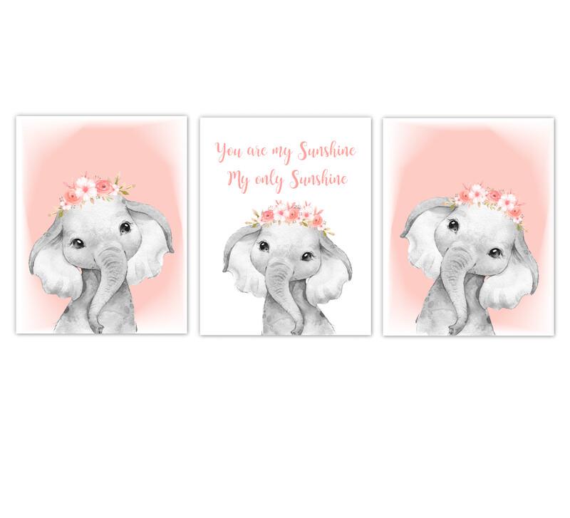 Elephant Baby Girl Nursery Wall Art Decor Coral Floral Crown Elephant  Prints SET OF 3 UNFRAMED PRINTS or CANVAS