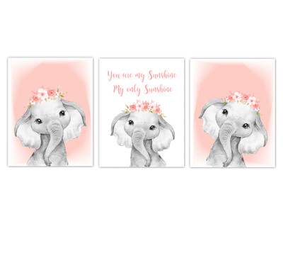 Elephant Baby Girl Nursery Wall Art Decor Coral Floral Crown Elephant  Prints SET OF 3 UNFRAMED PRINTS or CANVAS