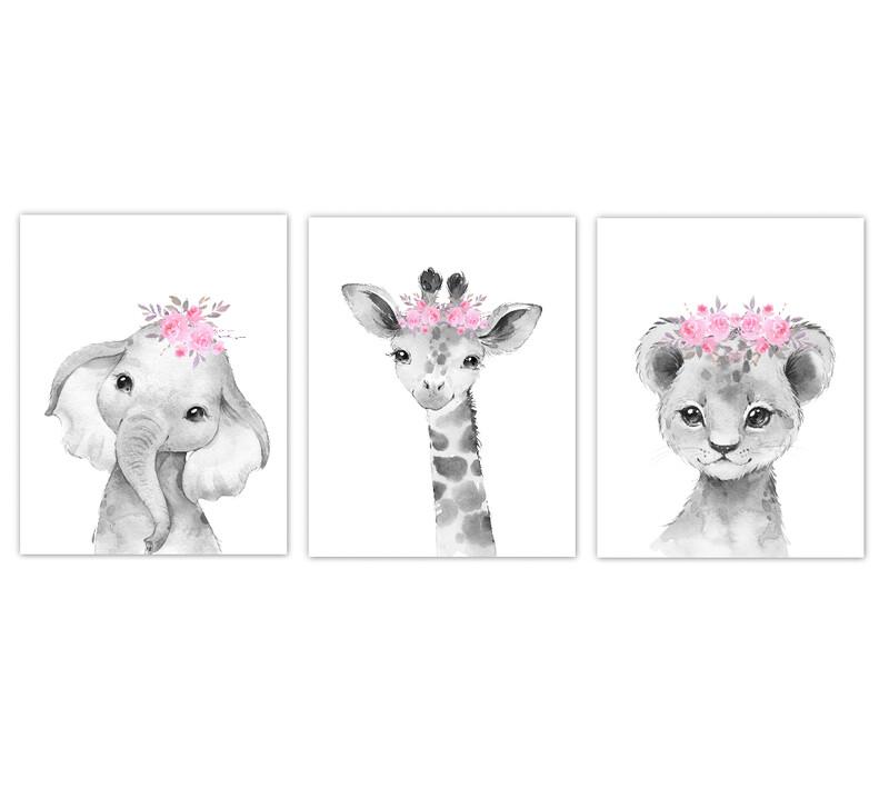 Safari Animals Baby Girl Nursery Wall Art Decor Pink Floral Crown Animal Prints SET OF 3 UNFRAMED PRINTS or CANVAS