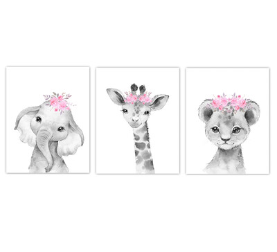 Safari Animals Baby Girl Nursery Wall Art Decor Pink Floral Crown Animal Prints SET OF 3 UNFRAMED PRINTS or CANVAS