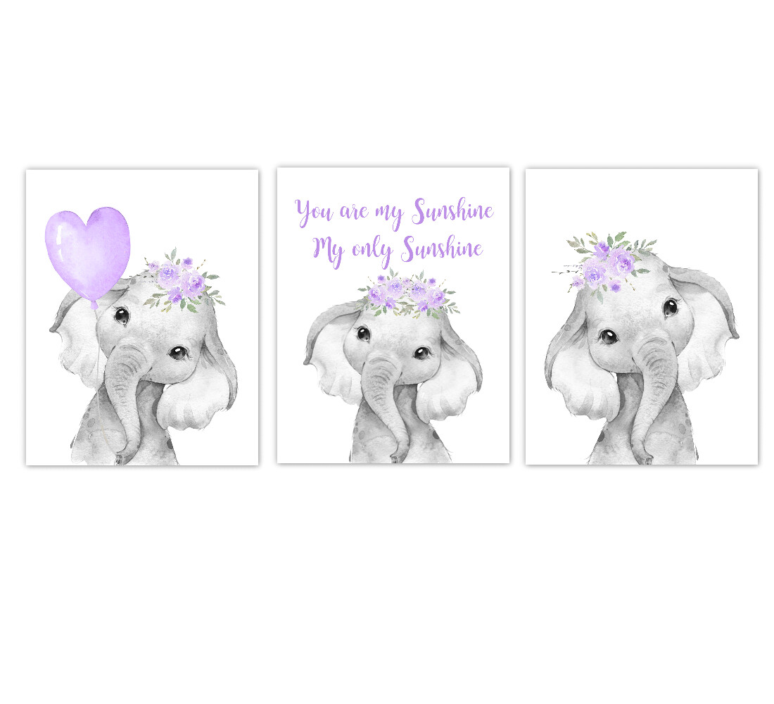 Elephant Baby Girl Nursery Wall Art Decor Purple Floral Crown Elephant Prints SET OF 3 UNFRAMED PRINTS or CANVAS