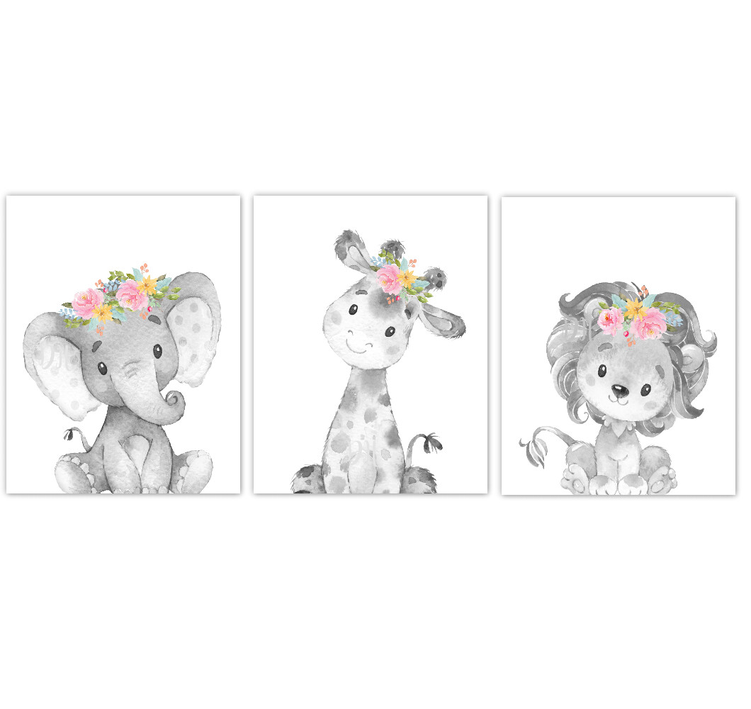Safari Animal Baby Girl Nursery Wall Art Decor Pink Multi Floral Crown Elephant Giraffe Lion Prints SET OF 3 UNFRAMED PRINTS or CANVAS