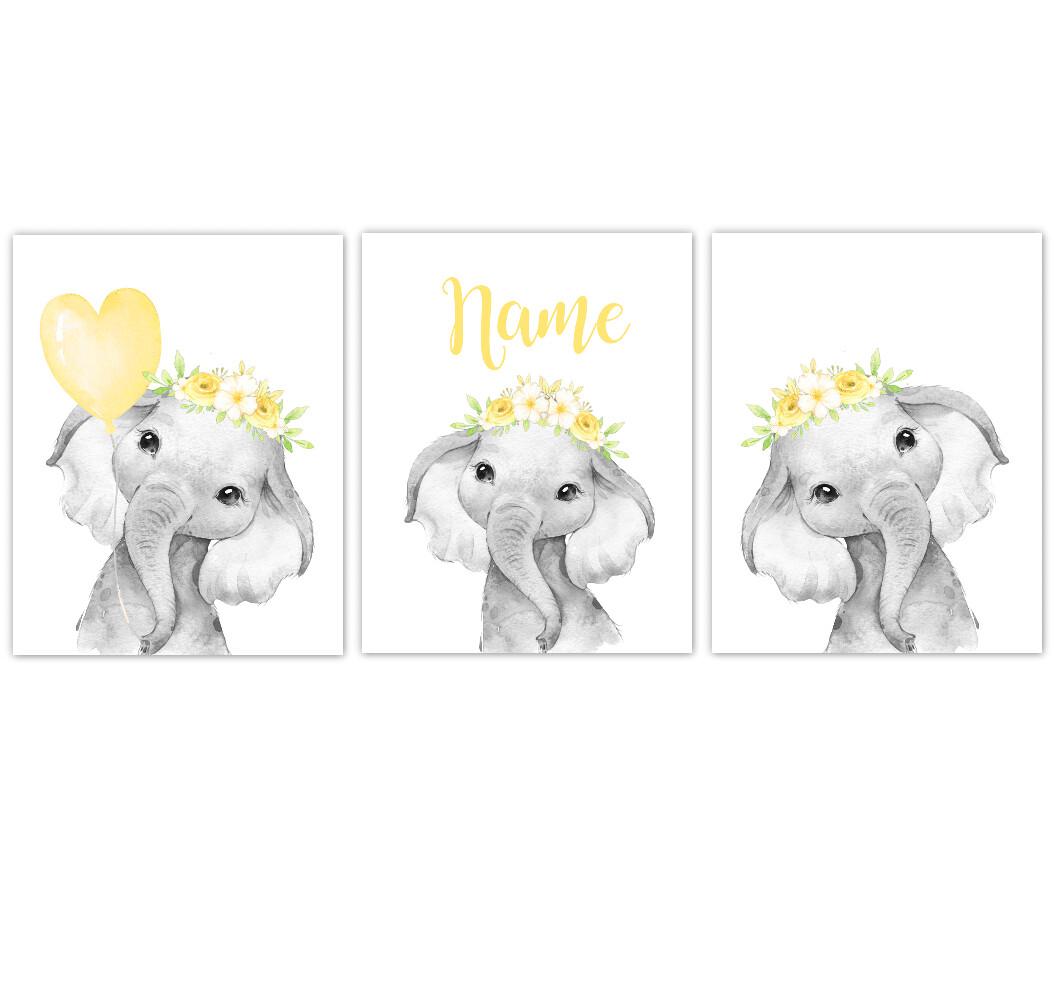Elephant Baby Girl Nursery Wall Art Decor Yellow Floral Crown Elephant Prints SET OF 3 UNFRAMED PRINTS or CANVAS
