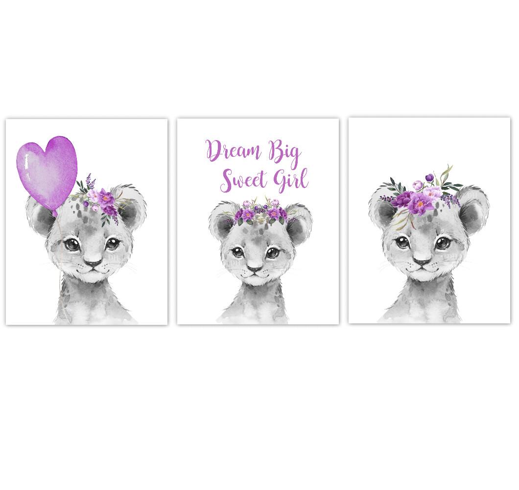 Safari Animal Baby Girl Nursery Wall Art Decor Purple Floral Crown Baby Lion Prints SET OF 3 UNFRAMED PRINTS or CANVAS