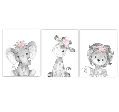 Safari Animal Baby Girl Nursery Wall Art Decor Pink Floral Crown Elephant Giraffe Lion Prints SET OF 3 UNFRAMED PRINTS or CANVAS