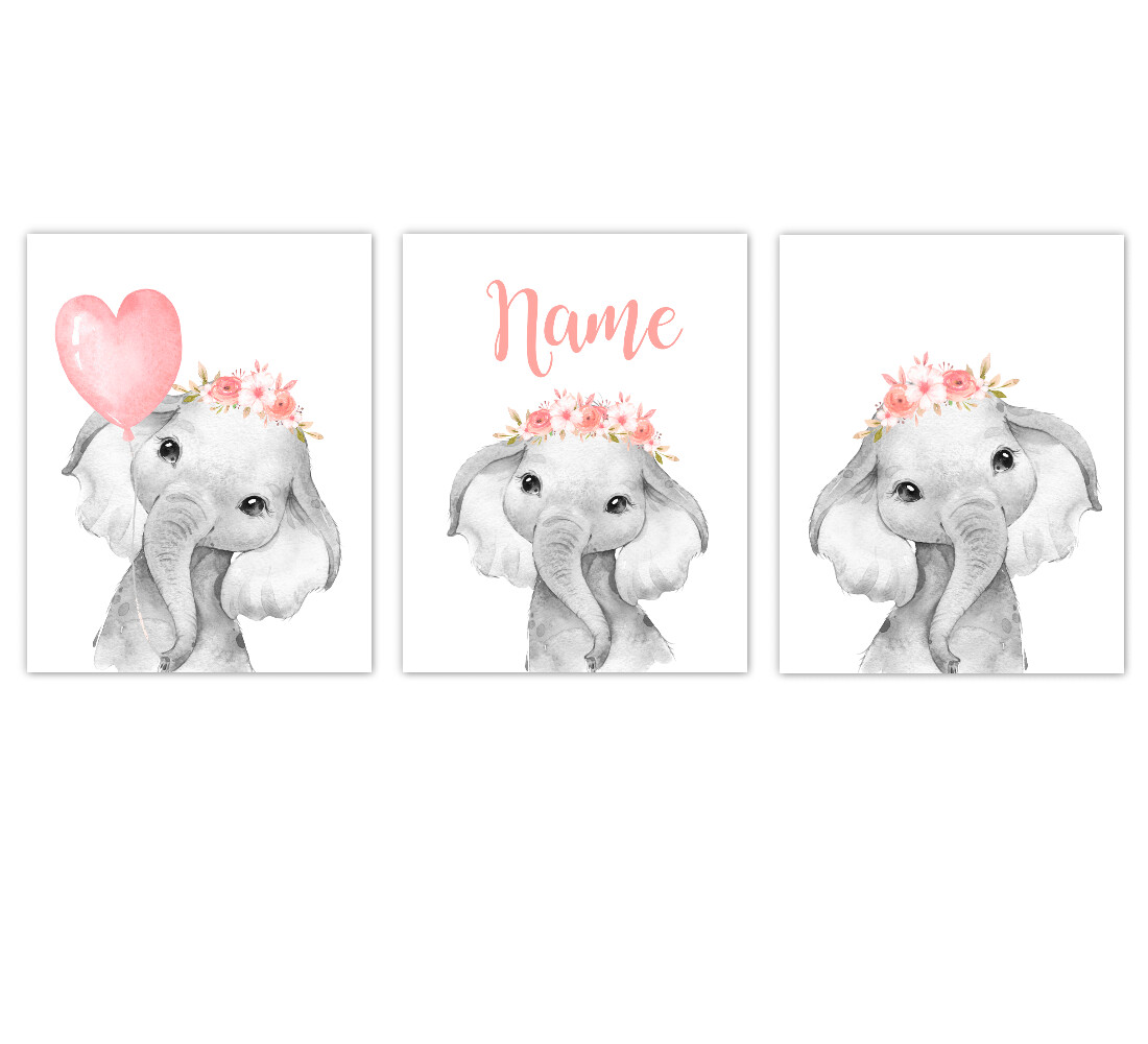 Elephant Baby Girl Nursery Wall Art Decor Coral Floral Crown Elephant Personalized Prints SET OF 3 UNFRAMED PRINTS or CANVAS