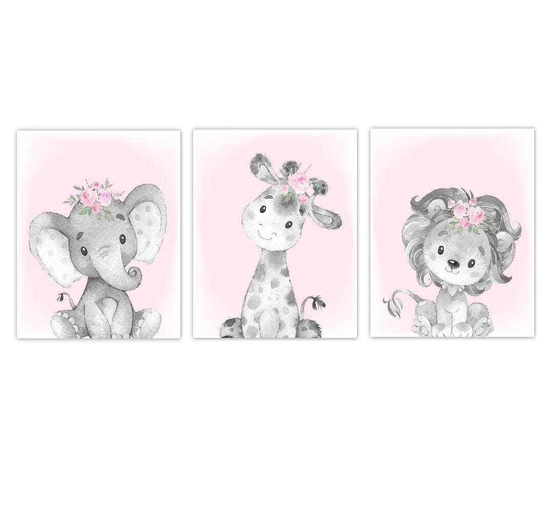 Safari Animal Baby Girl Nursery Wall Art Decor Pink Floral Crown Elephant Giraffe Lion Prints SET OF 3 UNFRAMED PRINTS or CANVAS