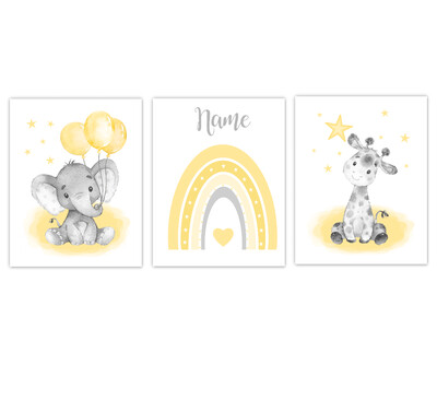 Rainbow Baby Nursery Art Yellow Elephant With Balloons Giraffe Safari Animals Personalized Wall Decor 3 UNFRAMED PRINTS or CANVAS