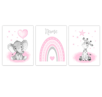 Rainbow Baby Girl Nursery Art Pink Elephant With Balloons Giraffe Safari Animals Personalized Wall Decor  3 UNFRAMED PRINTS or CANVAS