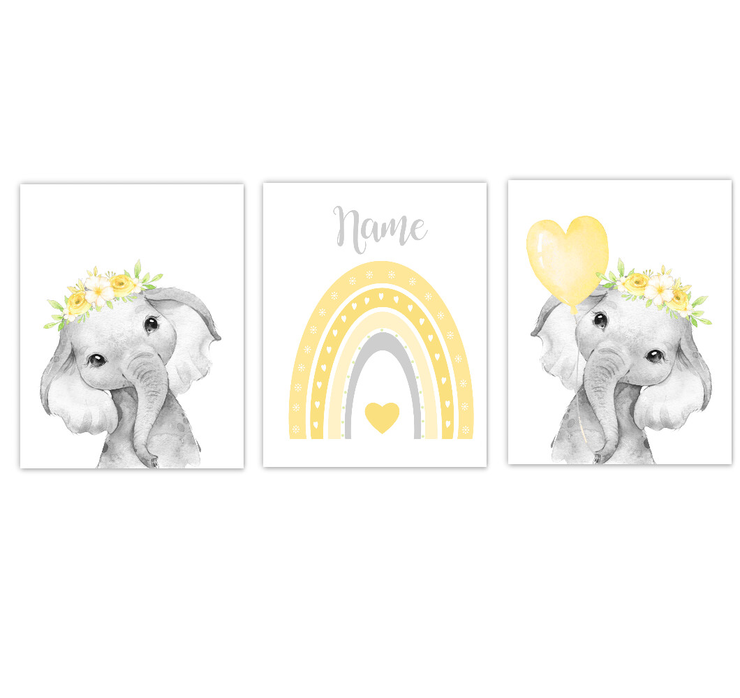 Rainbow Baby Girl Nursery Art Yellow Elephant With Balloons Safari Animals Personalized Wall Decor  3 UNFRAMED PRINTS or CANVAS