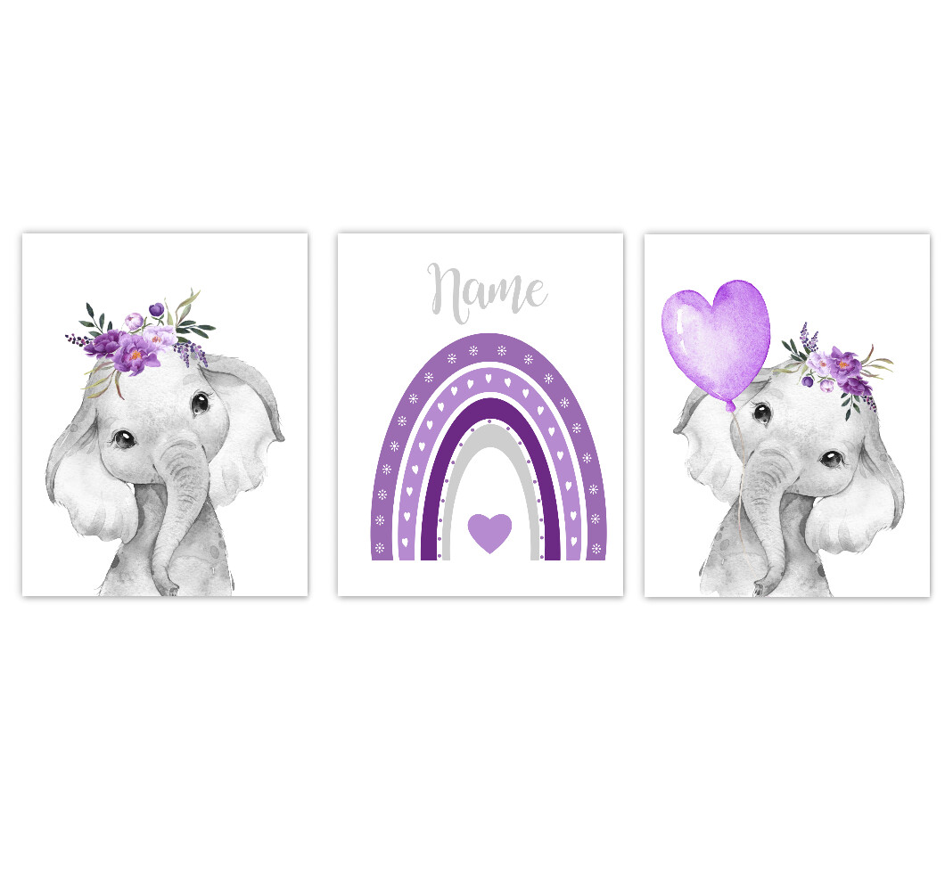 Rainbow Baby Girl Nursery Art Elephant With Balloons Purple Floral Crown Safari Animals Personalized Wall Decor  3 UNFRAMED PRINTS or CANVAS