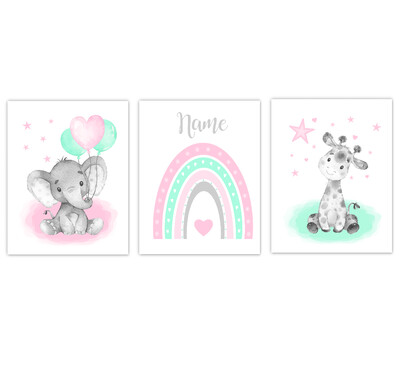 Rainbow Baby Nursery Art Pink Mint Elephant With Balloons Giraffe Safari Animals Personalized Wall Decor  3 UNFRAMED PRINTS or CANVAS