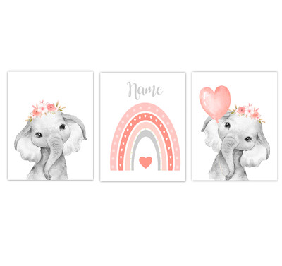 Rainbow Baby Girl Nursery Art Coral Elephant With Balloons Safari Animals Personalized Wall Decor  3 UNFRAMED PRINTS or CANVAS