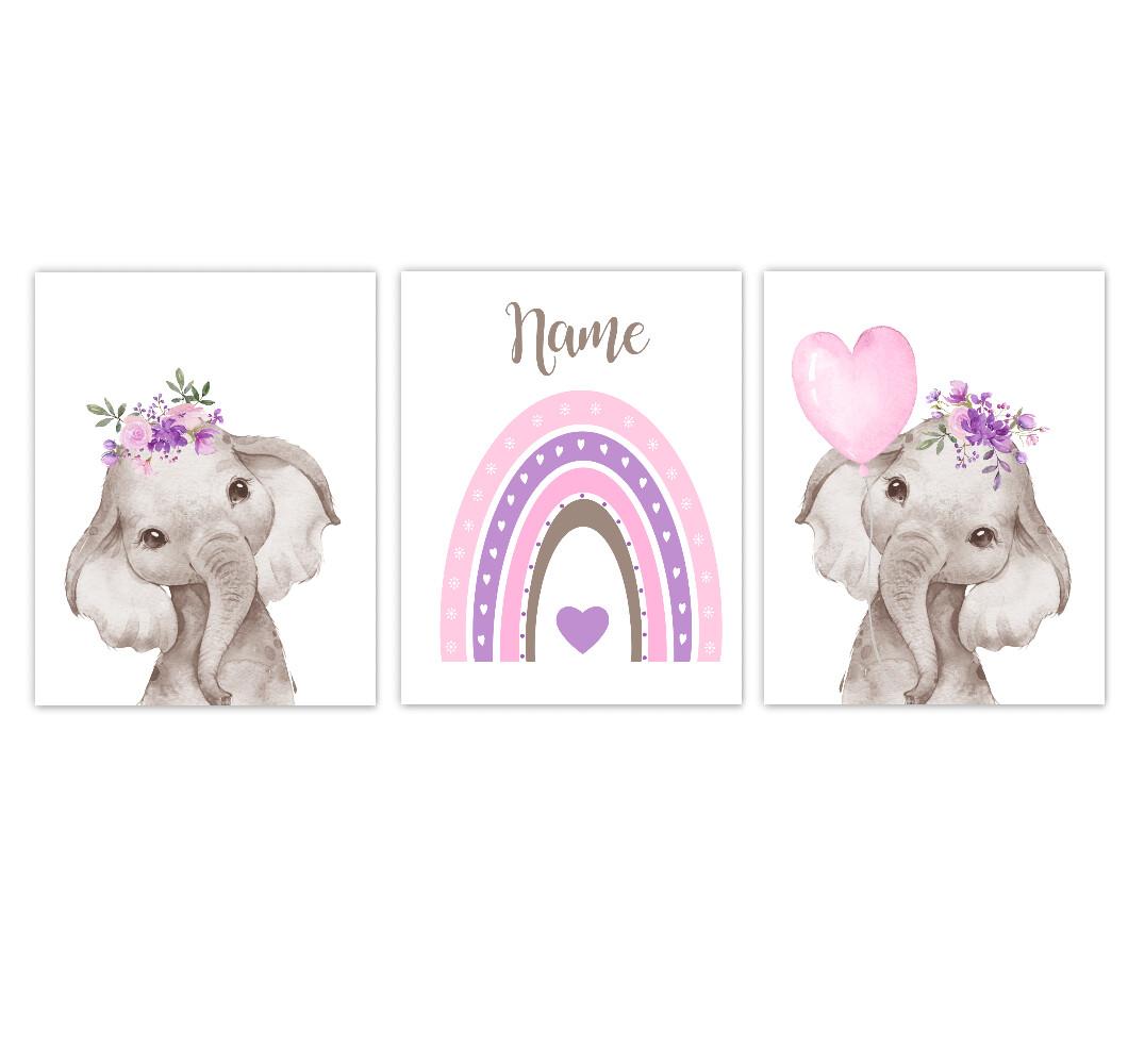 Rainbow Baby Girl Nursery Art Pink Purple Elephant With Balloons Safari Animals Personalized Wall Decor 3 UNFRAMED PRINTS or CANVAS