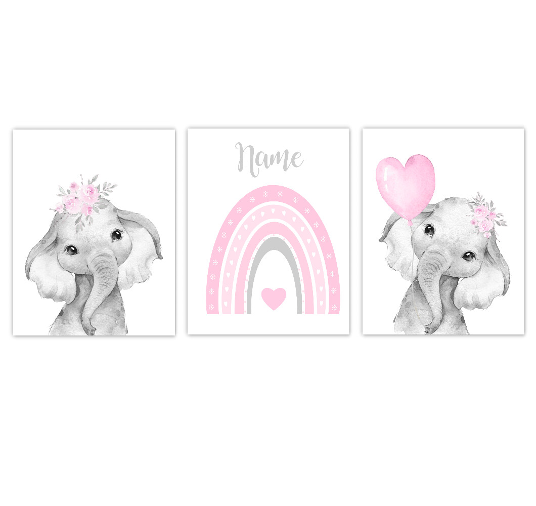 Rainbow Baby Girl Nursery Art Pink Elephant With Balloons Safari Animals Personalized Wall Decor 3 UNFRAMED PRINTS or CANVAS