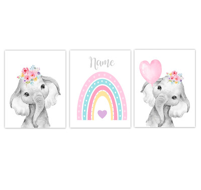 Rainbow Baby Girl Nursery Art Pink Multi Color Floral Elephant With Balloons Safari Animals Personalized Wall Decor 3 UNFRAMED PRINTS or CANVAS