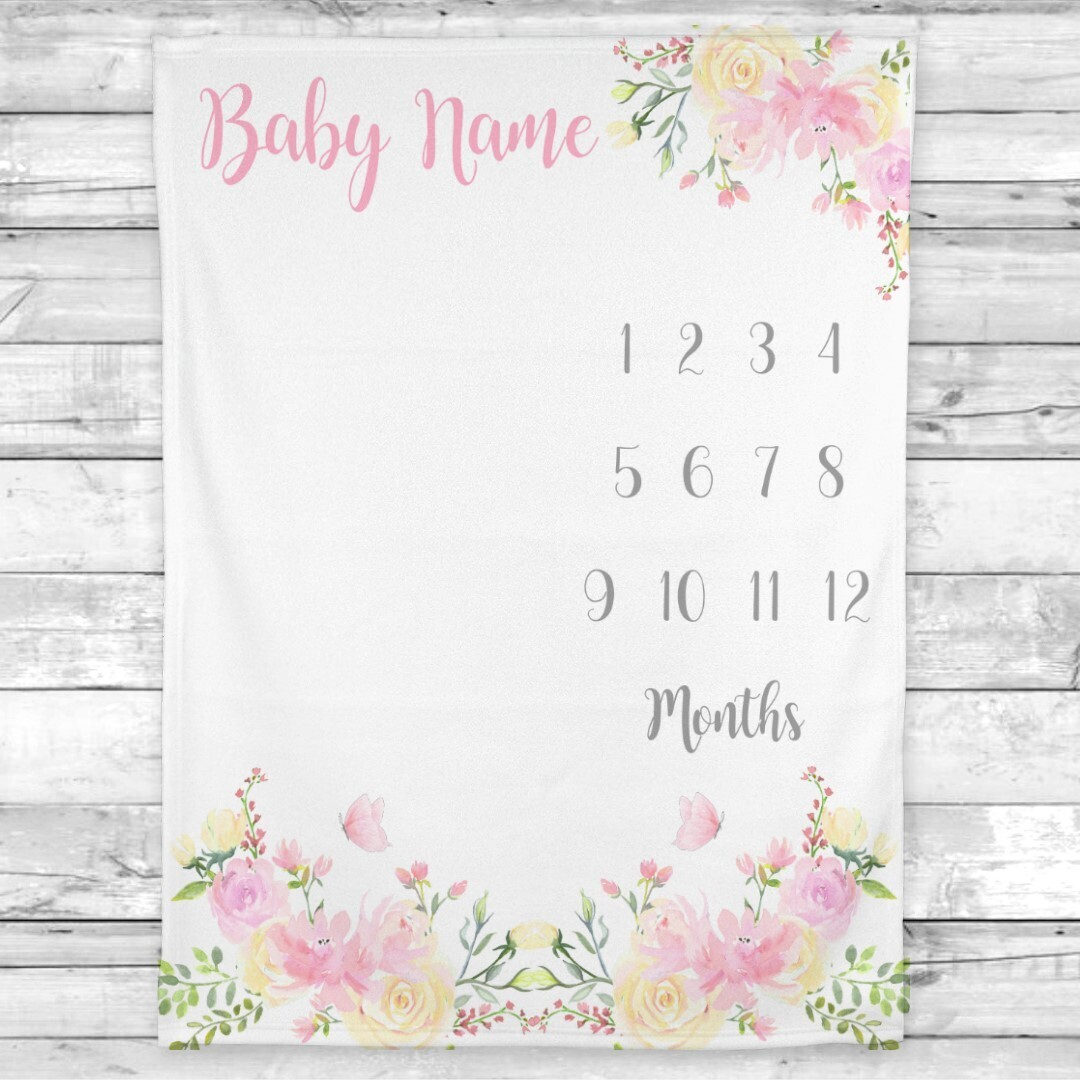 Milestone Baby Girl Blanket Personalized Monthly Baby Blanket Pink Floral New Baby Shower Gift Baby Photo Op Backdrop