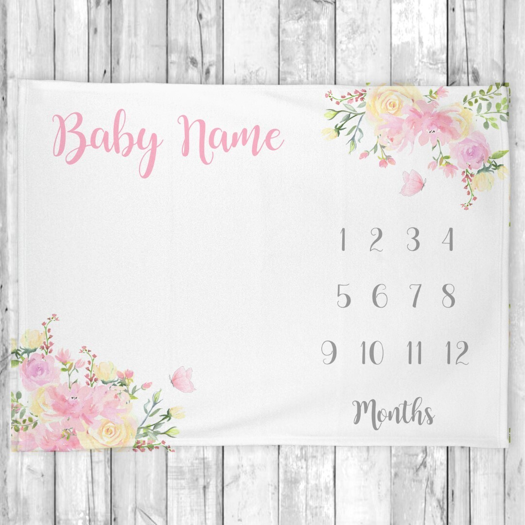 Milestone Baby Girl Blanket Personalized Monthly Baby Blanket Pink Flowers Baby Shower Gift Baby Photo Op Backdrop