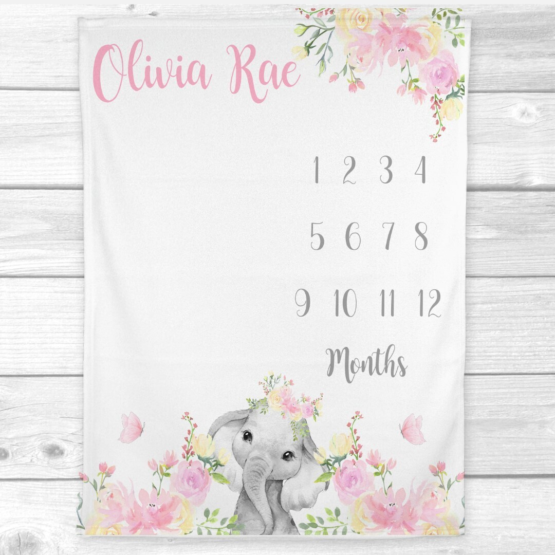 Milestone Baby Girl Blanket Personalized Monthly Baby Blanket Pink Floral Elephant New Baby Shower Gift Baby Photo Op Backdrop