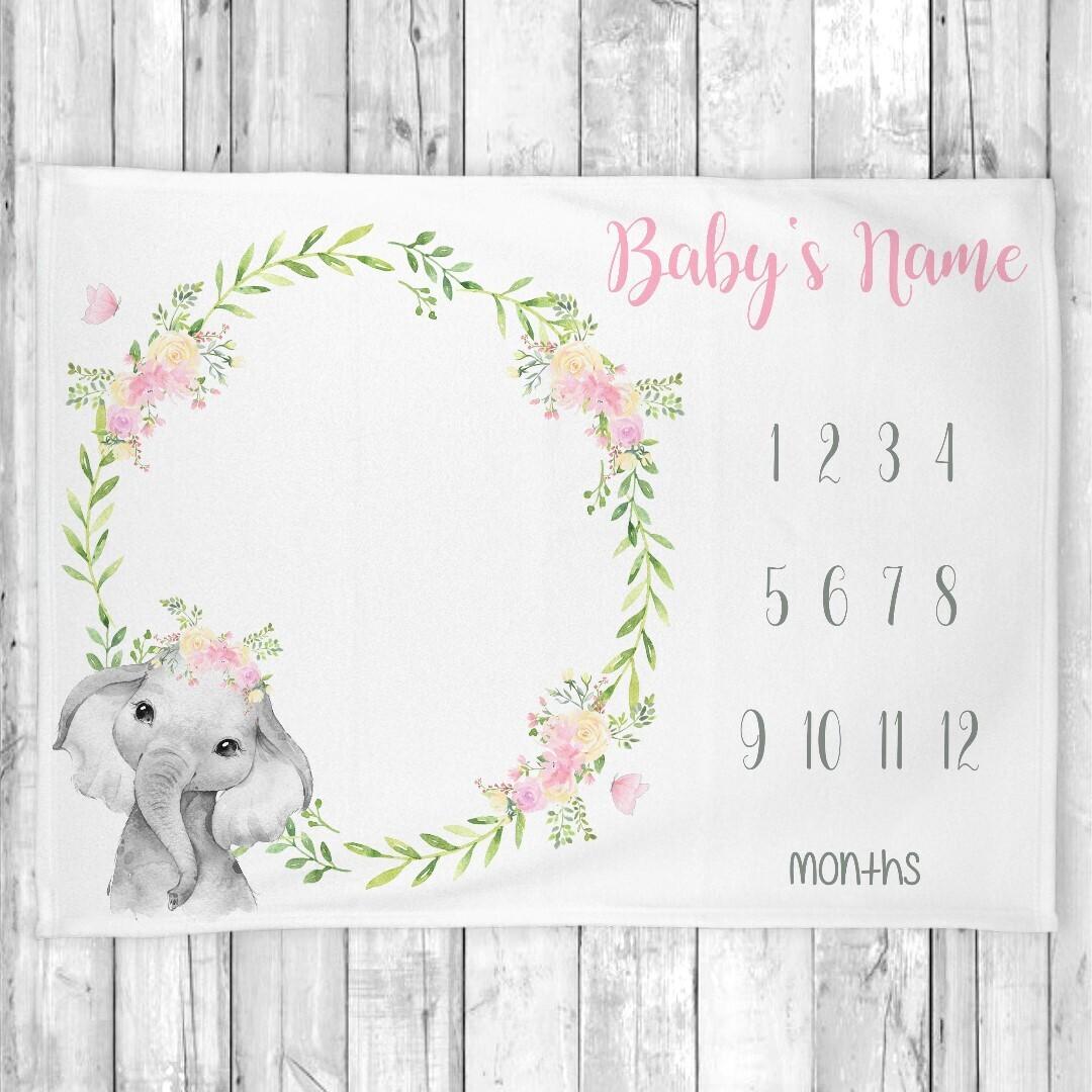 Milestone Baby Girl Blanket Personalized Monthly Baby Blanket Elephant New Baby Shower Gift Baby Photo Op Backdrop