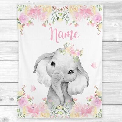 Personalized Baby Girl Blanket Pink Elephant Baby Nursery Decor Shower Gift