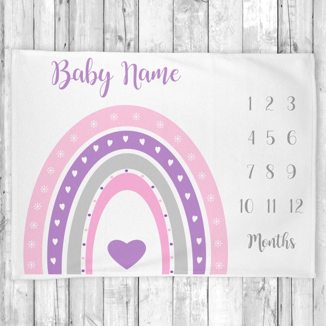 Boho Rainbow Baby Blanket, Personalized Milestone Blanket, Monthly Milestone Blanket, Baby Shower Gift, Baby Girl Blanket, Nursery Decor