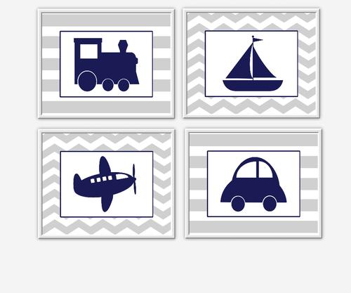 Baby Boy Nursery Wall Art Gray Navy Blue Grey Train Airplane Plane Car Boat Sailboat Chevron Transportation Wall Art for Boys Room Wall Prints for Baby Boy SET OF 4 UNFRAMED PRINTS