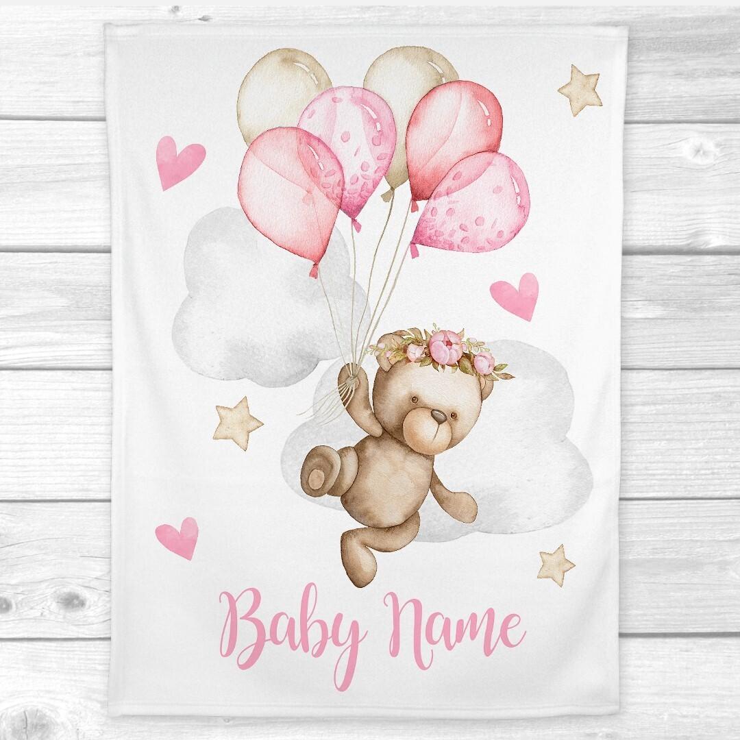 Personalized Baby Girl Blanket Pink Teddy Bear Balloons Nursery Decor New Baby Shower Gift Crib Blanket