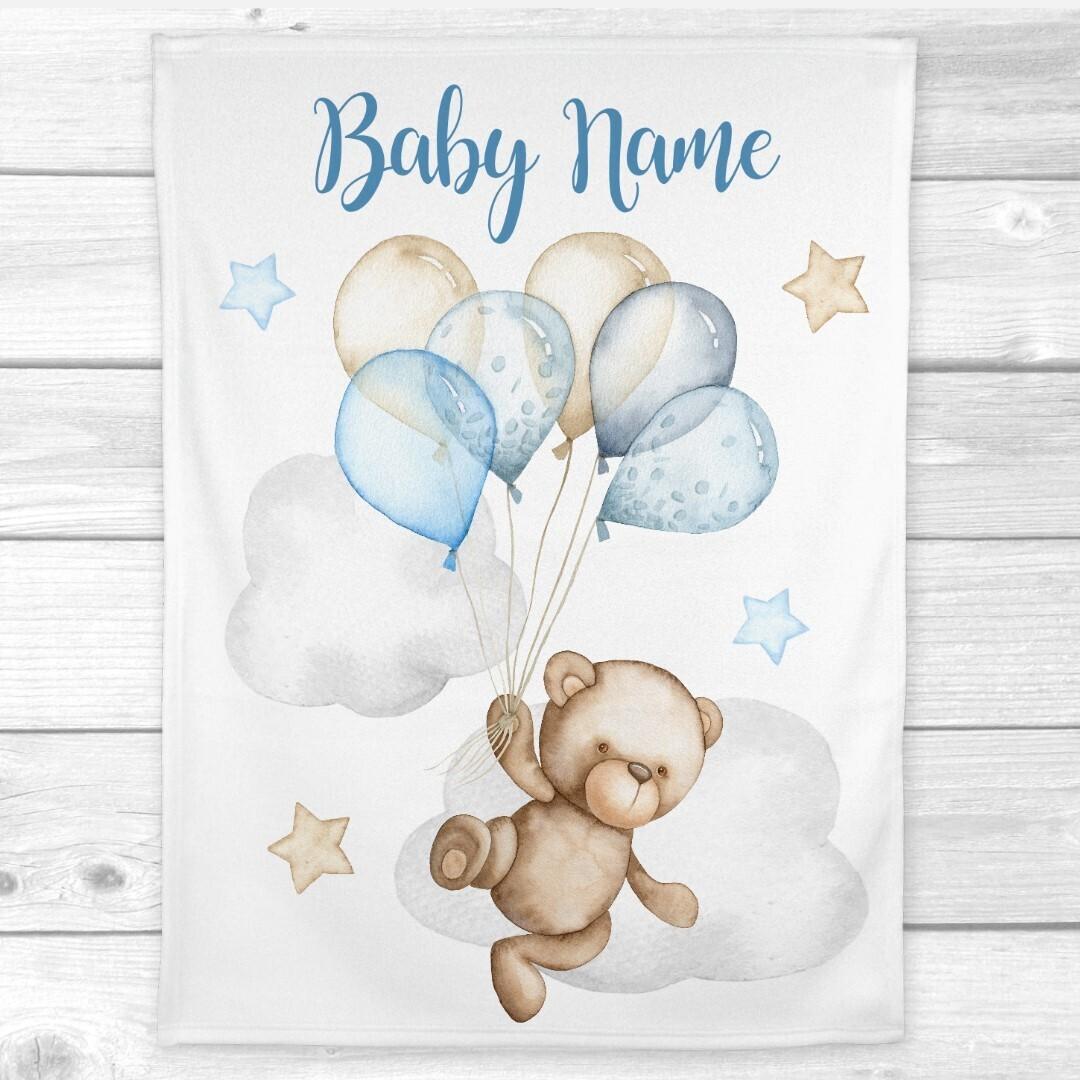 Personalized Baby Boy Blanket Teddy Bear Balloons Nursery Decor New Baby Shower Gift Crib Blanket