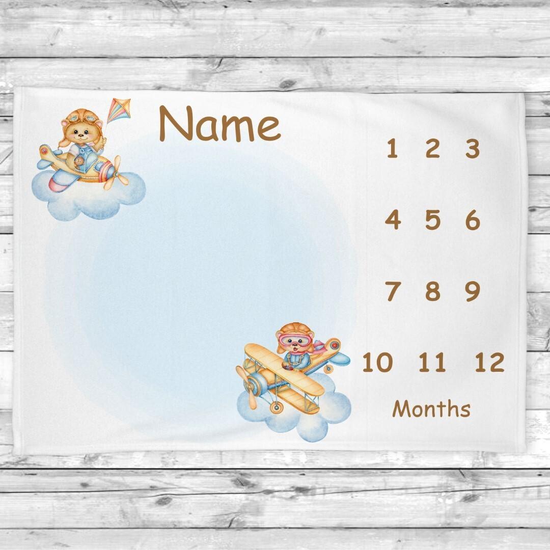 Baby Boy Milestone Blanket Teddy Bears Airplane Baby Nursery Decor Month  New Baby Shower Gift Baby Photo Op Backdrop