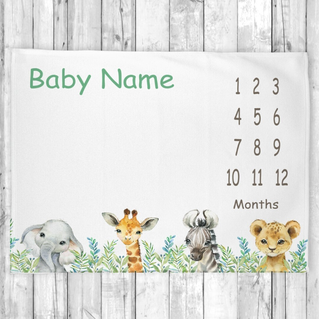 Boy Milestone Blanket Safari Animals Baby Blanket Monthly New Baby Shower Gift Baby Photo Op Backdrop