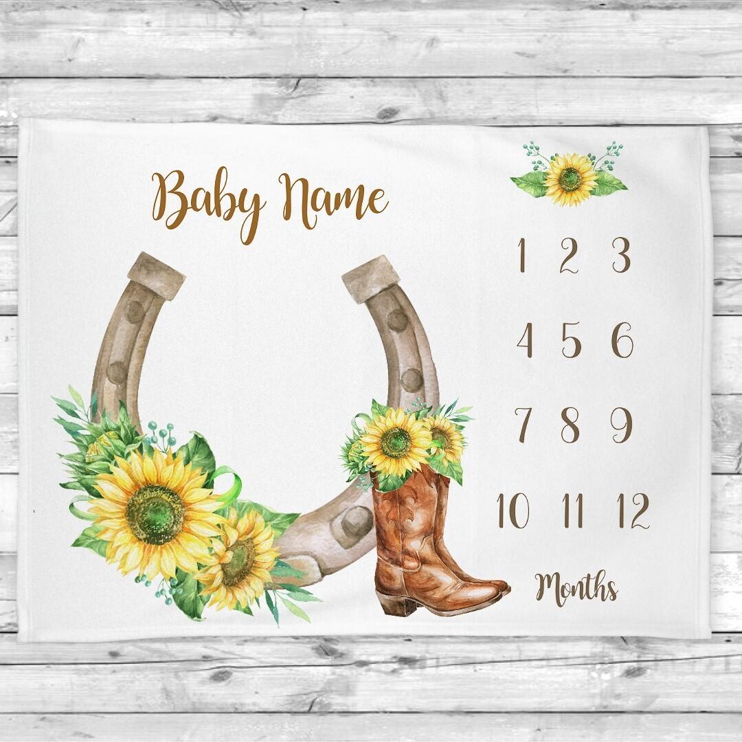 Western Sunflowers Milestone Girl Blanket Baby Nursery Decor Month New Baby Shower Gift Baby Photo Op Backdrop