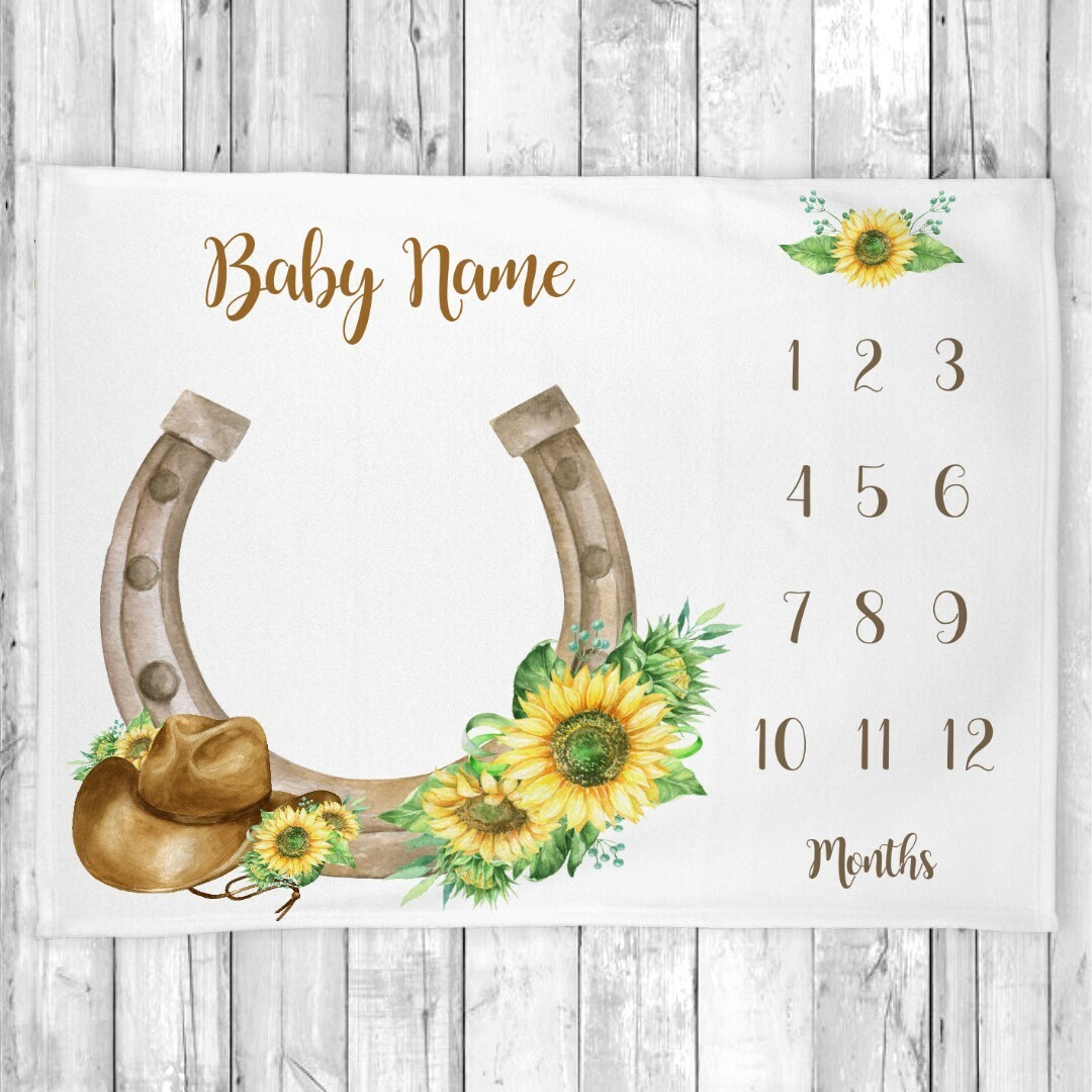 Western Sunflowers Milestone Cowboy Hat Girl Blanket Baby Nursery Decor Month New Baby Shower Gift Baby Photo Op Backdrop