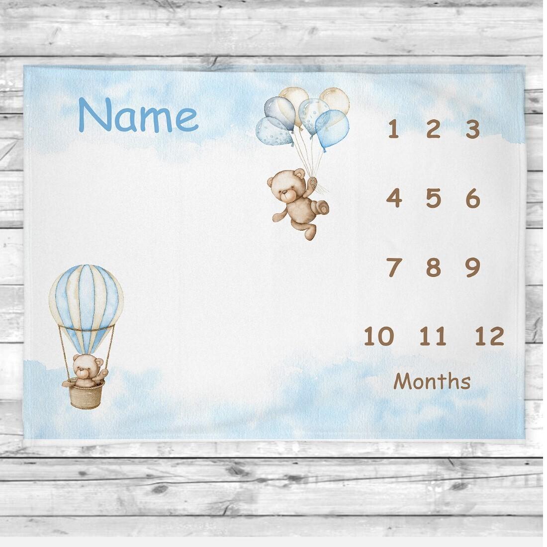 Baby Boy Milestone Blanket Teddy Bears Baby Nursery Decor Month  New Baby Shower Gift Baby Photo Op Backdrop