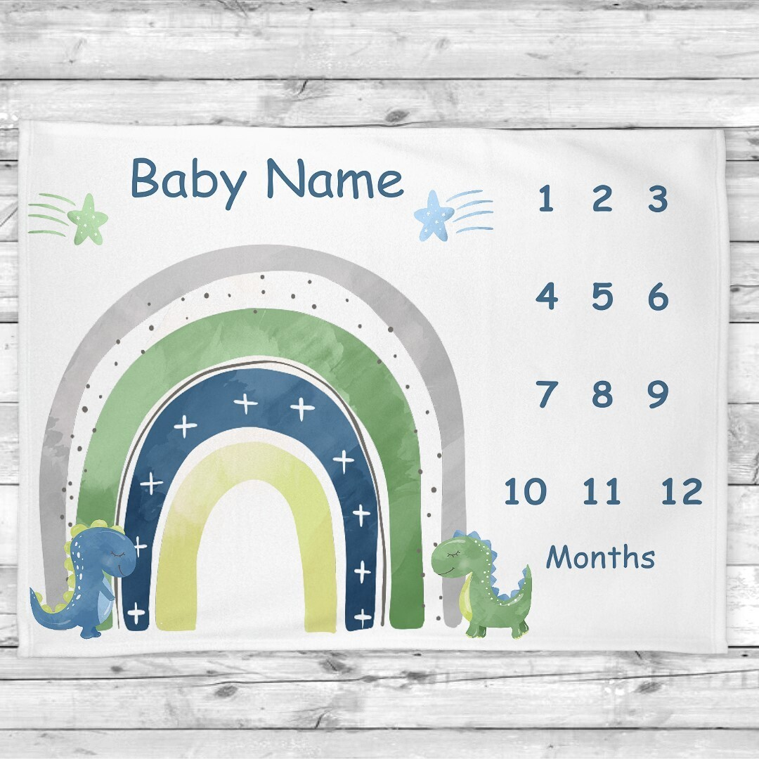 Dinosaurs Rainbow Blue Green Baby Boy Milestone Blanket Baby Nursery Decor Month New Baby Shower Gift Baby Photo Op Backdrop