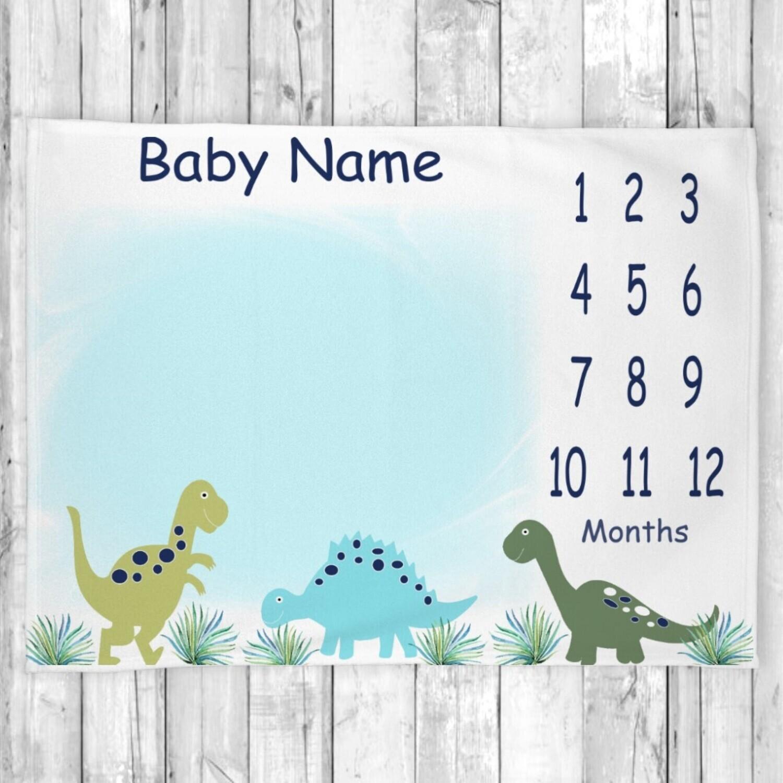 Dinosaur Personalized Boy Milestone Blanket Baby Nursery Decor Month  New Baby Shower Gift Baby Photo Op Backdrop