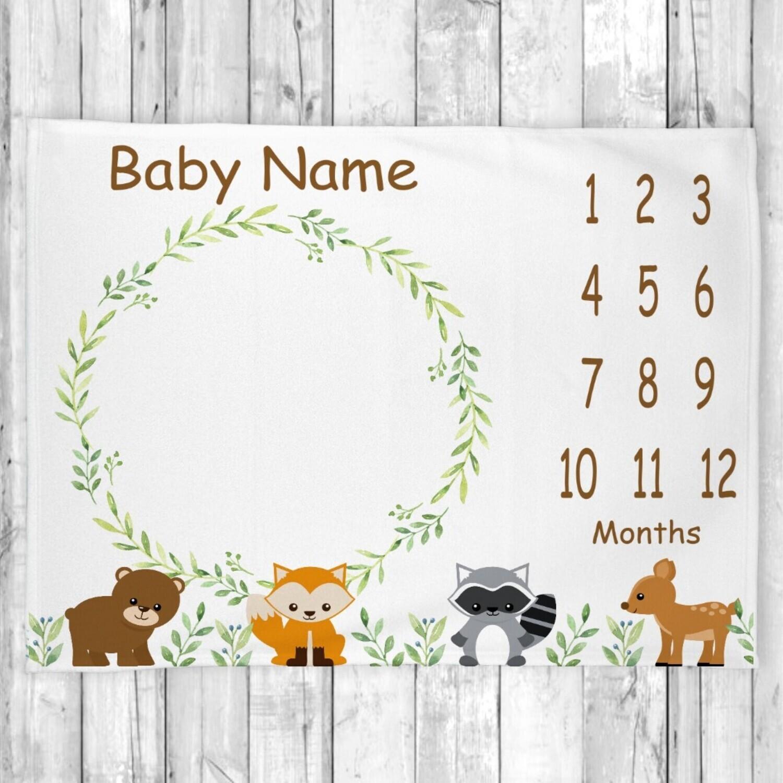 Woodland Animals Personalized Boy Milestone Blanket Baby Nursery Decor Month  New Baby Shower Gift Baby Photo Op Backdrop