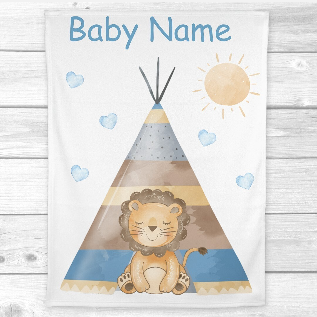 Personalized Baby Boy Blanket Lion Teepee Baby Nursery Decor New Baby Shower Gift Crib Blanket Tummy Time