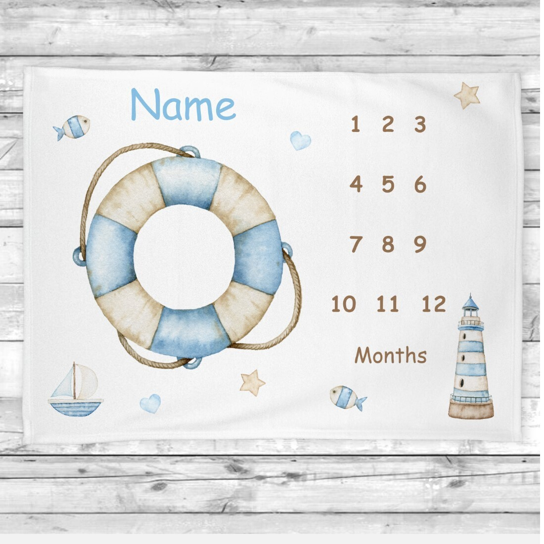 Baby Boy Milestone Blanket Nautical Baby Nursery Decor Month  New Baby Shower Gift Baby Photo Op Backdrop