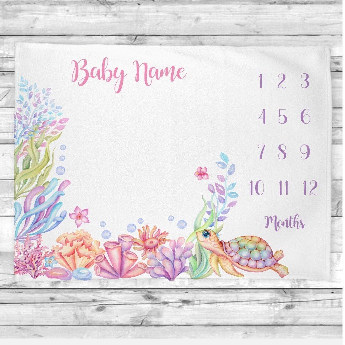 Sea Life Baby Girl Personalized Milestone Blanket Baby Nursery Decor Month New Baby Shower Gift Baby Photo Op Backdrop